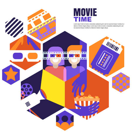 Movie time, date at the cinema concept. Vector design elements for cinema poster, banner, sale entrance ticket. Flat geometric hexagons background. Couple in 3d glasses, flat illustration.