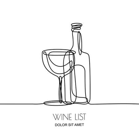 Continuous line drawing. Vector linear black illustration of wine bottle and glass isolated on white background. Concept and design elements for wine list, menu, label.  イラスト・ベクター素材