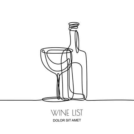 Desenho de linha contínuo. Vector a ilustração preta linear da garrafa e do vidro de vinho isolada no fundo branco. Elementos de conceito e design para a lista de vinhos, menu, etiqueta.