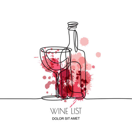 Linear illustration of red or rose wine bottle and glass on watercolor splashes background.