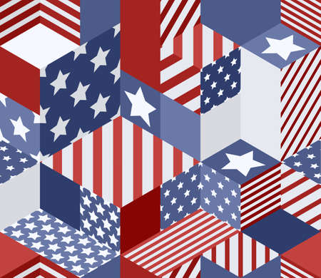 Vector seamless USA flags pattern. 3d isometric cubes background in american flag colors. Geometric patchwork illustration.