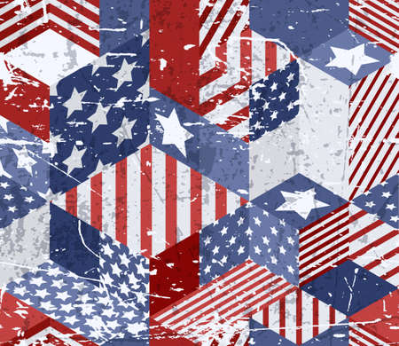 Vector seamless watercolor USA flag pattern. 3d isometric cubes background in american flag colors with grunge removable texture. Geometric patchwork illustration.