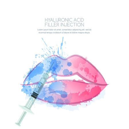 Vector illustration of hyaluronic acid filler injections or mesotherapy procedures. Watercolor female lips and syringe in water splashes. Cosmetology moisturizing procedures and beauty concept. Illustration
