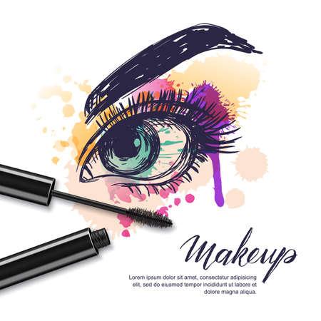 Ilustración de dibujo de acuarela de vector de rimel de maquillaje y ojos femeninos coloridos. Fondo acuarela Concepto de salón de belleza, etiqueta de cosméticos, rostro y maquillaje.