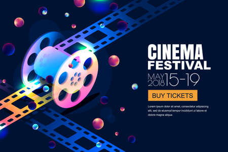 Glowing neon cinema festival banner template on abstract night cosmic sky background. Illustration