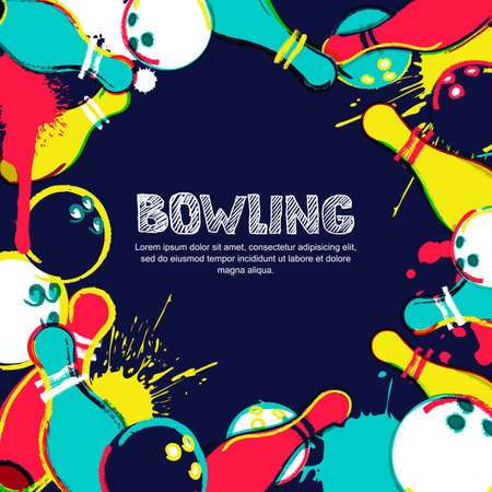 Vector bowling frame background. Abstract watercolor illustration. Bowling ball, pins and sketched letters on colorful splash background. Design elements for banner, poster or flyer. Stock Illustratie