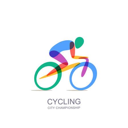 Wektor rowerowe logo, ikona, szablon projektu godła. Sylwetka człowieka na kolorowym rowerze, nakładające się ilustracja na białym tle. Koncepcja maratonu, wyścigów, zawodów, zdrowego stylu życia i sportów na świeżym powietrzu.