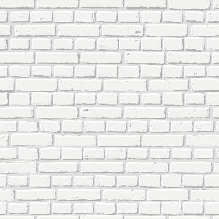 White brick wall seamless texture. Abstract architecture and loft interior, background.