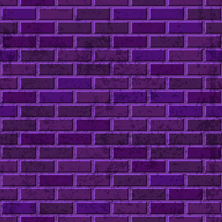 Vector purple brick wall seamless texture. Abstract architecture and loft interior violet background.