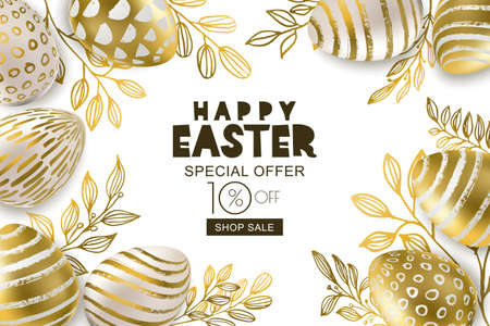 Happy Easter sale banner. Vector holiday frame. Golden 3d eggs with hand painted decoration and gold leves, isolated on white background. Design for holiday flyer, poster, party invitation. Stock Vector - 96014343