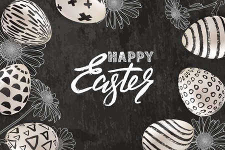 Happy Easter banner, greeting card or poster design. Vector holiday illustration of 3d Easter eggs with hand painted decoration, hand drawn sketched chamomile flowers on gray slate background. Illustration