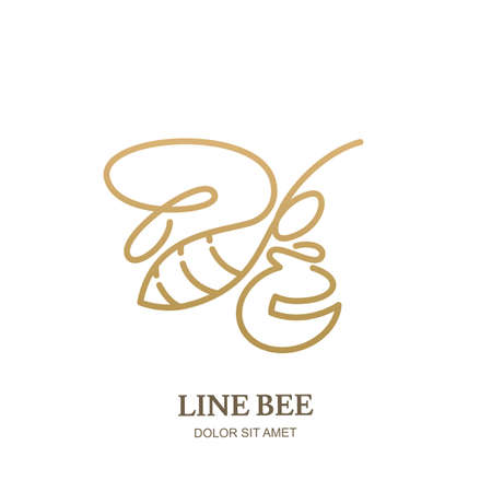 Vector line logo icon or emblem with golden honeybee and honey pot