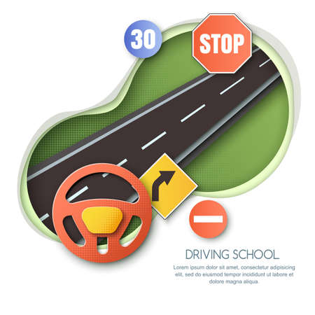 Driving school concept vector illustration. Road, car steering wheel, traffic signs paper cut style isolated illustration. Banner, flyer or poster design elements.