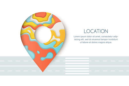 Road way location and GPS navigation concept. Paper cut style vector colorful illustration of pin map symbol, waypoint marker.