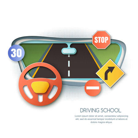 Vector driving school concept. Road, car steering wheel, traffic signs paper cut style isolated illustration. View out of automobile window. Banner, flyer or poster design elements.