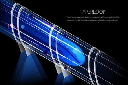 Tren magnético futurista de alta velocidad. Hyperloop, vector brillante, vista isométrica ilustración. Concepto de diseño de futuro ferrocarril y transporte expreso. Ilustración de vector
