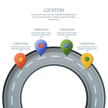 Road infographics template. Way location and GPS navigation concept. Paper cut style vector illustration of multicolor pin map symbol, waypoint marker on the roundabout.