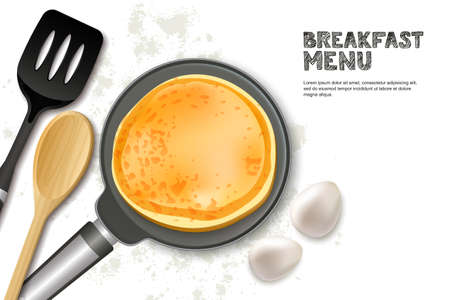 Cooking pancake vector illustration. Top view realistic pan, spatula and ingredients isolated on white background. Illustration