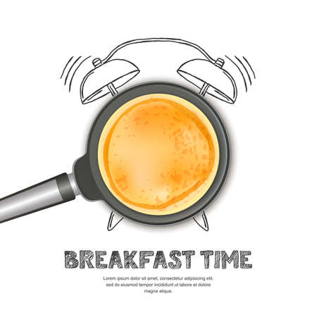 Vector realistic illustration of pan with pancake and hand drawn alarm clock isolated on white background. Top view food on dark background. Creative design for breakfast menu, cafe, restaurant. Иллюстрация