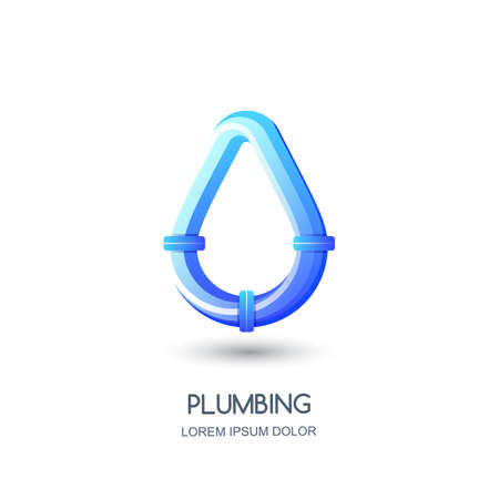 Plumbing vector icon, emblem design template. Blue pipe in water drop shape, isolated illustration. Concept for pipe laying repair service.