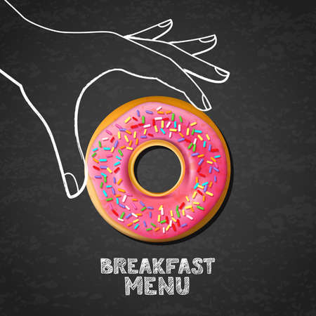 Breakfast menu concept. Tasty pink glazed donut in hand drawn watercolor human hand