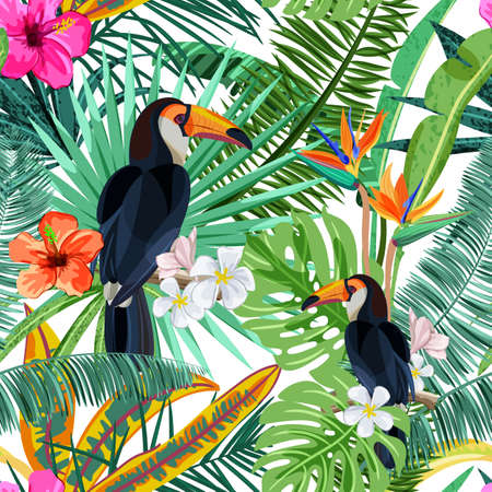 Vector seamless pattern with green tropical palm leaves, hibiscus flowers and bird toucan. Nature background. Summer or spring trendy design elements for fashion textile prints and greeting cards. Vettoriali