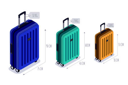 Baggage allowance isolated vector isometric icons. Multicolor luggage, suitcase, bags with tags. Checked baggage, carry-on and hand luggage for traveling by aircraft. Travel and tourism concept. Vettoriali