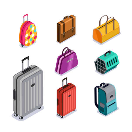 Vector baggage isolated 3d isometric style icons. Multicolor luggage, suitcase, bags, backpack, carrying animals. Checked baggage, carry-on and hand luggage for traveling by aircraft. Vectores