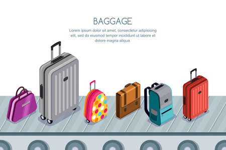 Multicolor luggage, suitcase, bags on conveyor belt in airport terminal. Vector 3d isometric illustration. Concept for checked baggage claim, travel by aircraft and tourism.