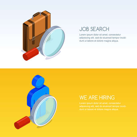 Recruitment, human resources and job seeking concept. Vector banner set with 3d isometric illustration of magnifier, briefcase and man silhouette. Business staff hiring icons. Stock Vector - 96944119