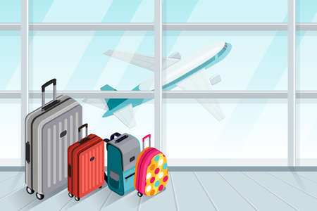 Multicolored luggage, suitcase, bags near the airport terminal window.