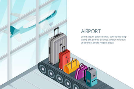 Different luggage, suitcase, bags on conveyor belt near airport terminal window.