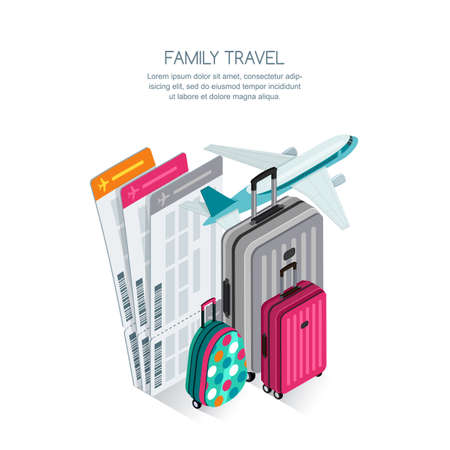 Family travel by aircraft and vacation concept. Vectores