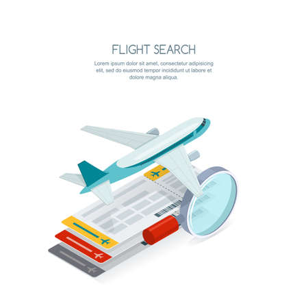 Flight search and airplane tickets service concept. Illustration