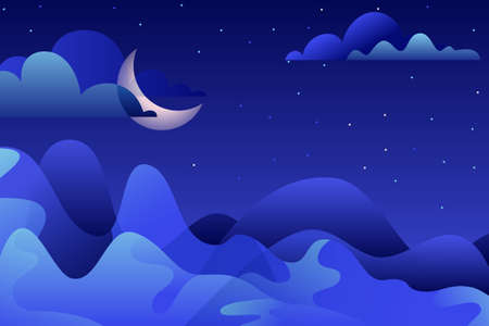 Abstract night landscape illustration. Blue mountains and moon on sky.