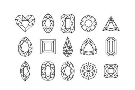 Set of vector line art gems and jewels isolated on white background. Linear diamonds with different cuts. Design elements and icons for holiday gift and jewelry shop.