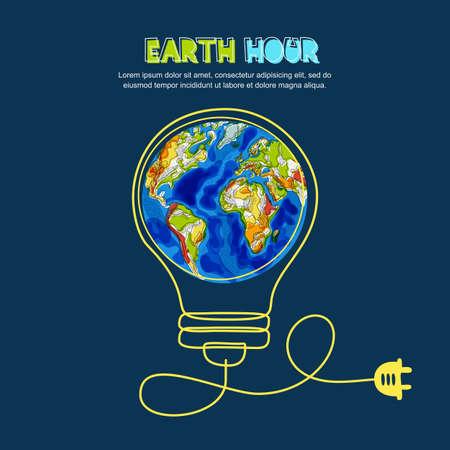 Économie d'énergie et illustration image concept heure de la terre