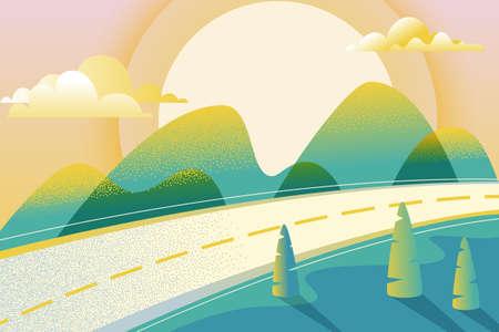 Paysage d'été ou de printemps abstrait, illustration vectorielle dessinés à la main. Route dans une vallée verdoyante, montagnes, collines, arbres, nuages et soleil sur le ciel. Fond horizontal de nature.