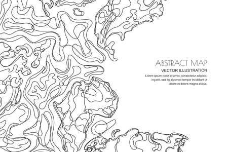 Vector abstract contour topographic map. Outline black white landscape background with copy space. Topography, geodesy line texture.