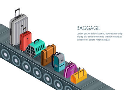 Isolated vector 3d isometric illustration of conveyor belt with different luggage, suitcases, bags. Illustration