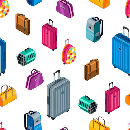 Vector seamless pattern with 3d isometric multicolored luggage, suitcase, bags.