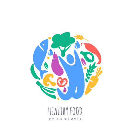 Organic healthy vegetarian food concept. Vector logo, label design template. Circle emblem with happy man and vegetables. Hand drawn doodle isolated illustration. 向量圖像