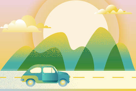 Car driving along mountain road, vector illustration. Abstract summer or spring green valley landscape. Automobile travel, trip concept. Outdoor tourism and travel.