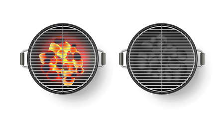 Vector realistic 3d illustration of round empty barbecue grill with hot coal, isolated on white background. BBQ top view icon.