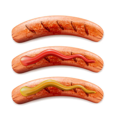 Vector realistic 3d illustration of grilled sausage with ketchup and mustard, isolated on white background. Sausage bbq icon.