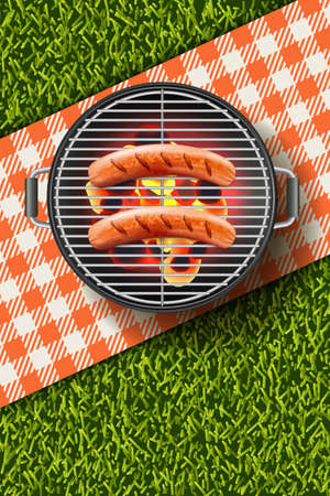 Vector realistic 3d illustration of grilled sausage on round hot barbecue grill. Bbq menu, picnic in park, banner or poster design template.