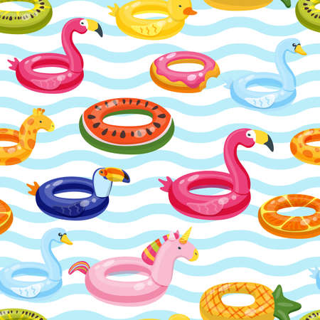 Vector seamless swimming pool float rings pattern. Multicolor inflatable cute kids toys and striped background. Trendy design concept for summer fashion textile print.