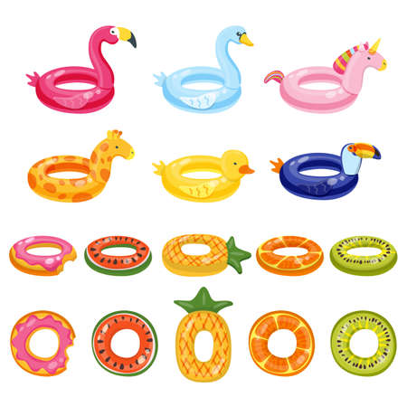 Pool inflatable cute kids toys set isolated on white background. Vector hand drawn doodle illustration. Flamingo, unicorn, giraffe, toucan, swan, duck, watermelon, pineapple water float rings. Ilustracja