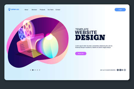 Website design template. Landing mobile web page layout. Vector media business concept, creative background.