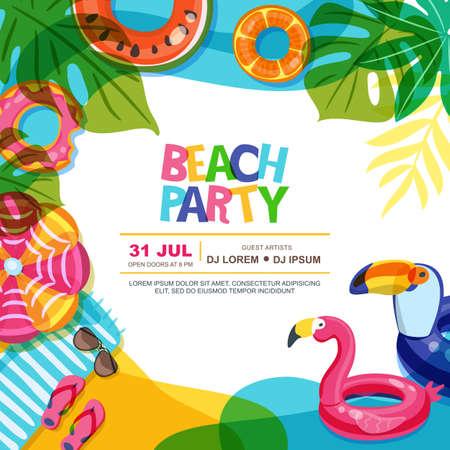 Plantilla de diseño de cartel de verano de vector de fiesta en la playa. Piscina con ilustración de doodle de anillos de flotador. Juguetes infantiles inflables multicolores. Concepto de diseño de moda para cartel o banner de verano.